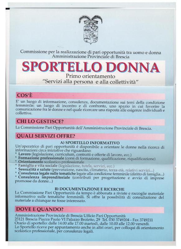 Sportello Donna brochure retro