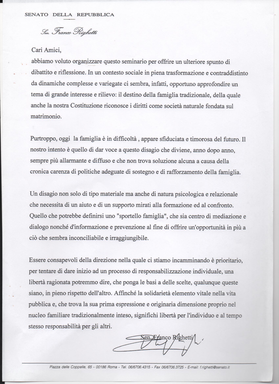 senato lettera senatore Righetti